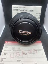 Canon EF-S 10-22mm f/3.5-4.5 AF EF-S USM Lens With UV Haze Lens.