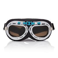 Silver + Brown Flying Motorcycle Scooter Goggles Retro Vintage Steampunk Glasses