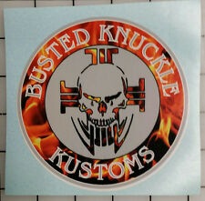 "3 decal set! Flame Busted Knuckle 4 1/2"" wide Decal -  Bumper Stickers"