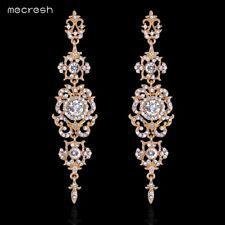 Mecresh Silver/Gold Crystal Long Earrings for Women Sun Flower Earrings EH182