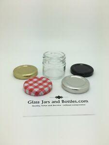 28ml Mini Round Wedding Favour Glass Jam Jars - choice of 43mm twist lids