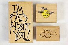 Lot of 3 Mixed Spooky Halloween Wood Mounted Rubber Stamps I'm Bats About You!