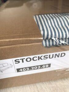 Brand New Ikea Cover for Stocksund 3 Seat Sofa in Remvallen Blue/White Stripe
