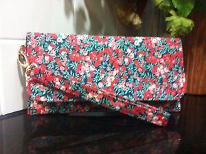Clutch Handbag Purse Liberty London Red Wiltshire Womens Birthday Day Gift New
