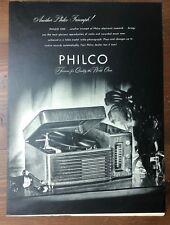 Original 1947 Magazine Print Ad PHILCO Stereo Record Player Turntable