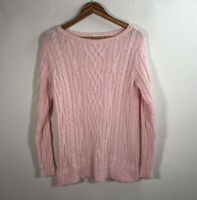 J Jill Women's Size XS  Pink 100% Cotton Cable Knit Pullover Tunic Sweater