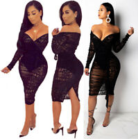Women V Neck Long Sleeves Lace Perspective Bodycon Club Party Black Dress S-4XL