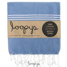 Premium Denim Blue Loopys Cotton Turkish Beach Pool Bath Towel Peshtemal Fouta
