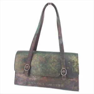 Jean Paul Gaultier Tote bag Green Brown PVC Leather Woman Authentic Used T8235