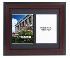 CreativePF 2 Opening Multi 5x7 Mahogany Picture Frame w/ 10x12 Black Collage Mat