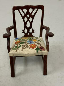 DOLLHOUSE MINIATURE ARM CHAIR WITH BEAUTIFUL EMBROIDERED SEAT