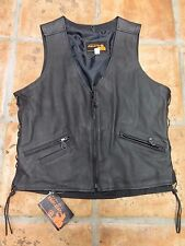 PERFECT BIKER LEATHER LINED, LACE SIDES, VEST 3 POCKET SIZE M. NWT VERY COOL