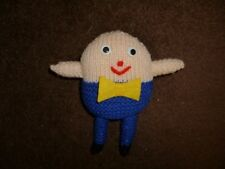 Hand Knitted Soft Toy Humpty Dumpty with yellow Bow tie & Sew-on eyes 16cm tall