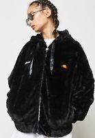 Ellesse Womens Zip Jacket Hooded Fleece Faux Fur Black Giovanna Winter