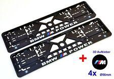 2x Kennzeichenhalter Nummernschildhalter für BMW + 3D Silikon Aufkleber 56mm