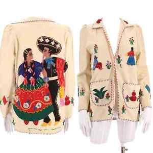 vintage 40s MEXICAN embroidered wool jacket 1950s appliquéd souvenir tourist
