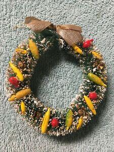 "Vintage Christmas Bottle Brush Wreath Snow Flocked with Fruit 5"" - 1950's"