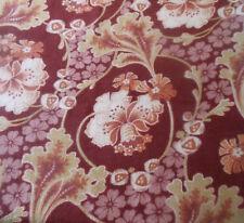 Antique French Art Nouveau Floral Cotton Fabric ~burgundy bordeaux rose tangerin