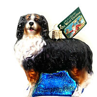 Old World Bernese Mountain Dog Glass Christmas Ornament