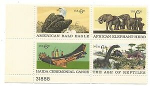 1970 6-cent US Natural History stamps full pane of 4 stamps