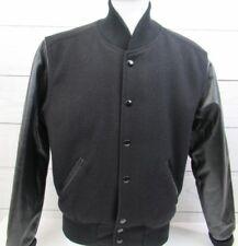 Black Youth Wool Retro Varsity Letterman Bomber Jacket Leather Sleeve/Inser Sz L