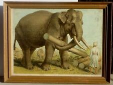 Color Circa 1900 LARGE Lithograph of Elephant at Work in Colonial India