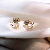 18k Fashion Animal Cat Pearl Zircon Earrings Ear Stud Women Party Jewelry Gift