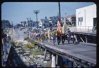 Ocean City New Jersey Boardwalk 1950s 35mm Slide Vtg Red Kodachrome Parade Flag