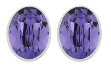 Swarovski Bis Pierced Earrings, Oval-Shaped Purple Crystal Authentic MIB 5098846