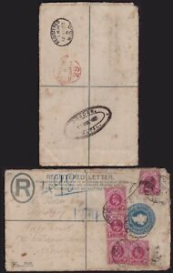 "1903 NATAL REGISTERED PSE EX VRYHEID TO LONDON + RARE ""DUNDEE"" OVAL TRANSIT MARK"