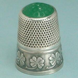 Antique Stone Top Silver 4 Leaf Clovers Thimble * Germany * Circa 1920