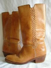 HANDMADE womens 8 vintage tall campus boho western boots leather The Wild Pair