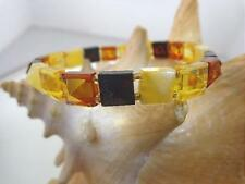 """8mm Genuine Baltic Sea Square Faceted Pyramid Mixed Amber Stretch Bracelet 6.75"""""""