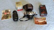 Canon AE-1 Program, Bundle w/ 50mm/1.8, 75-200/4.5, Vivitar Flash, Leather Case