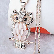 Rose Gold Crystal Opal Owl Pendant Long Chain Sweater Necklace Fashion Jewelry