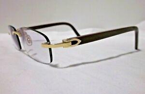 Authentic Cartier C Decor Eyeglasses Gold Trims Dark Red Arms CAC26 53/16-135