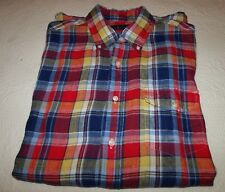 NWT Men's Polo Ralph Lauren Multi Color 100% Linen Shirt Size L