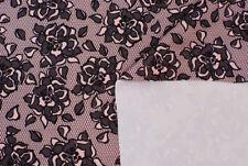 Jersey doppio / scuba floreale rosa e nero STOFFA AL METRO TESSUTO A METRAGGIO