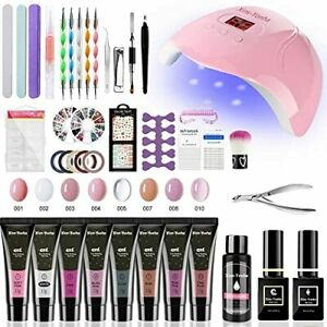 Ongle Gel kit Complet avec 48W Lampe UV LED Ongles Gel, 8 Couleurs Poly Nail Ext