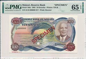 Reserve Bank Malawi  10 Kwacha 1985 Specimen PMG  65EPQ