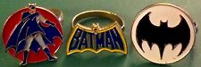 Vintage Batman Symbol & Moon Scene Batman Rings, Rare, 1966, 3 Total
