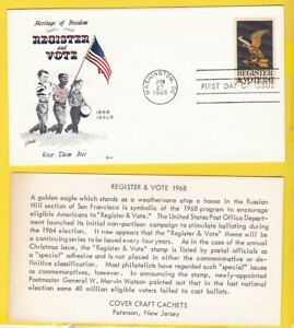 REGISTER AND VOTE #1344 US FIRST DAY COVER 1968 COVER CRAFT CACHET FDC