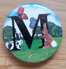 Rabbits and Butterflies - Alphabet M badge - button badge