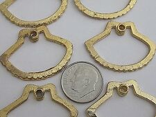 12 MED VTG OPEN SHELL CHARMS DANGLE PENDANT 31.5 x23.5mm FINDINGS JEWELRY CRAFT
