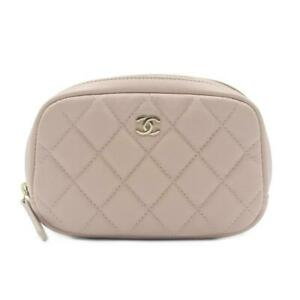 CHANEL CC Matelasse makeup bag pouch Caviar skin leather Pink Coco