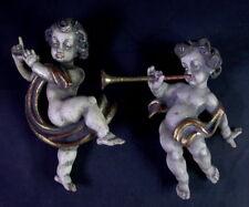 2 x Putto - Engel mit  Klarinette / ohne Flöte - Holz geschnitzt