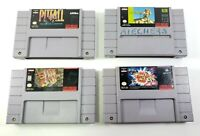4 Super Nintendo SNES Game Lot - Space Ace, Sim City, Paperboy 2, Pitfall TESTED