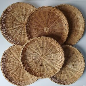 Lot of 6 Wicker Paper Plate Holders BBQ Picnic Party Rattan Camping Natural Home