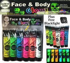 6 x15ml UV NEON  GLOW IN THE DARK FACE & BODY PAINT + FREE UV LIGHT!