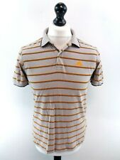 ADIDAS Mens Polo Shirt S Small Grey Orange Black Stripes Cotton Fitted
